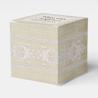 La recepción favorece el lino envejecido w rústico caja para regalos