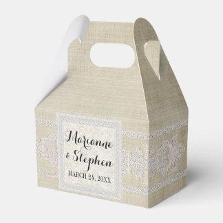 La recepción favorece el lino envejecido w rústico caja para regalos de fiestas