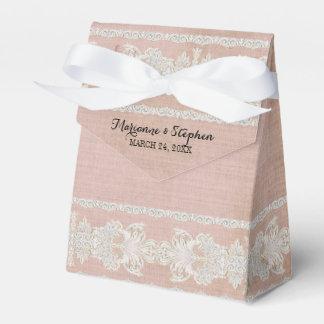 La recepción favorece el lino envejecido w rústico cajas para regalos