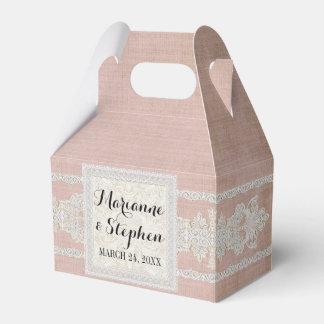 La recepción favorece el lino envejecido w rústico cajas para regalos de boda
