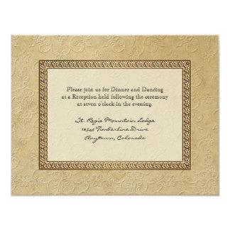 """La recepción formal floral del damasco del brocado invitación 4.25"""" x 5.5"""""""