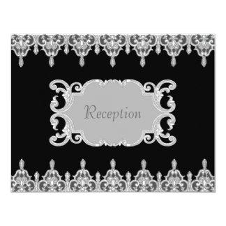 """La recepción gris y blanca del negro del cordón invitación 4.25"""" x 5.5"""""""