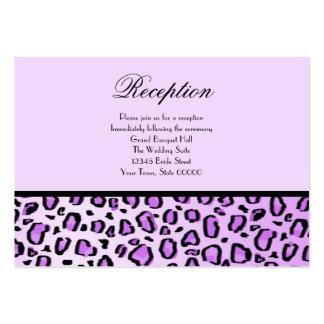 La recepción nupcial carda el estampado leopardo p tarjetas de negocios