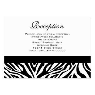 La recepción nupcial carda la cebra blanco y negro tarjetas de negocios