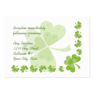 La recepción nupcial irlandesa de los tréboles ver tarjetas de negocios