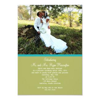 La recepción nupcial verde simple de la foto invitación personalizada