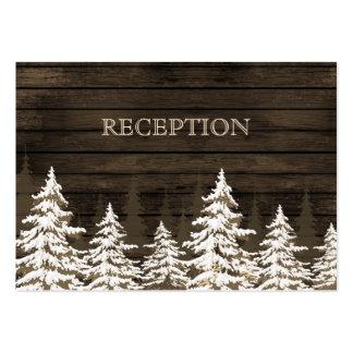 La recepción rústica del invierno de los árboles tarjetas de visita grandes