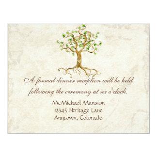 La recepción sabia Antiqued raíz del árbol del Invitación 10,8 X 13,9 Cm
