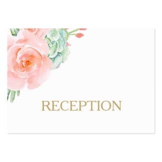 la recepción suculenta de los rosas del melocotón tarjetas de visita grandes