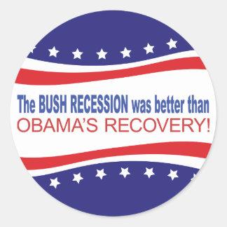 La recesión de Bush era mejor que Obama se Pegatinas Redondas