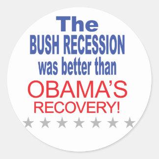 La recesión de Bush era mejor que Obama se Etiquetas Redondas