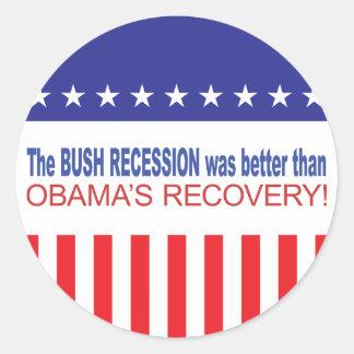 La recesión de Bush era mejor que Obama se Pegatina Redonda