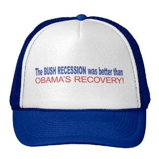 La recesión de Bush era mejor que Obama se recuper Gorras