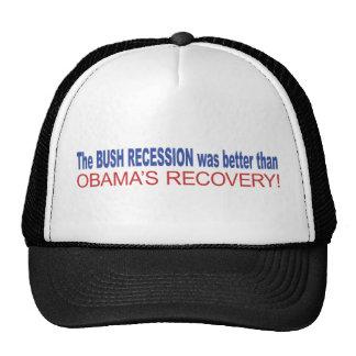 La recesión de Bush era mejor que Obama se recuper Gorros Bordados