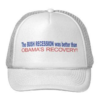 La recesión de Bush era mejor que Obama se recuper Gorro De Camionero