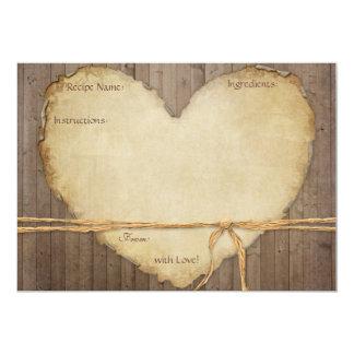 """La receta carda el corazón de madera rústico de invitación 5"""" x 7"""""""