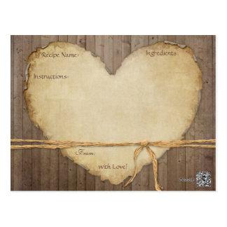 La receta carda el corazón de madera rústico de postal