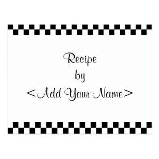 La receta del tablero de damas carda 4 x 6 postal