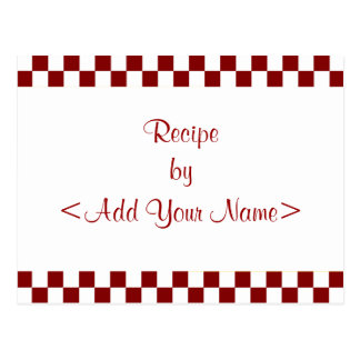 La receta del tablero de damas carda 4 x 6 tarjetas postales