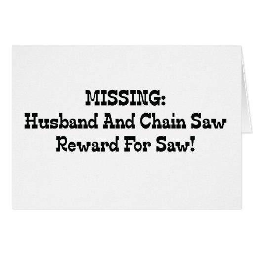 La recompensa que falta del marido y de la motosie tarjeta de felicitación