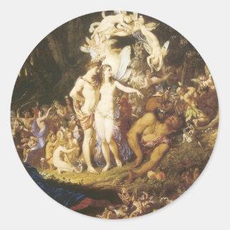 La reconciliación de Oberon y del Titania, 1847 Pegatina Redonda