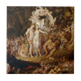 La reconciliación de Oberon y del Titania Azulejo