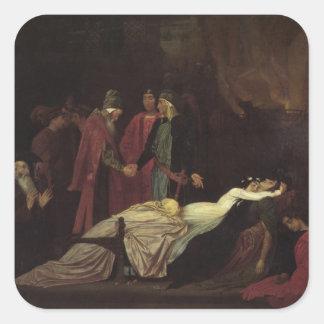 La reconciliación del Montagues y del Capulets Pegatina Cuadrada