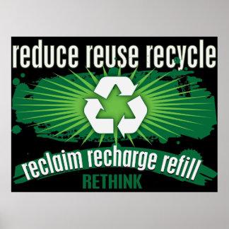 La recuperación, recarga y recicla póster