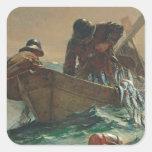 La red de los arenques, 1885 (aceite en lona) calcomanías cuadradass personalizadas