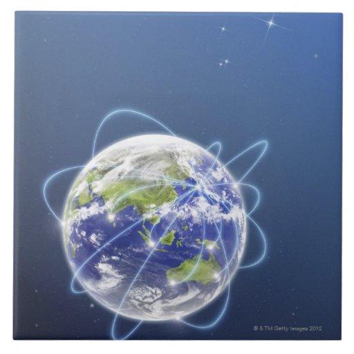 La red enciende la tierra circundante azulejo cuadrado grande