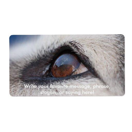 La reflexión de la luna en el ojo del perro etiqueta de envío