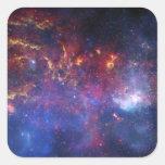 La región central de la galaxia de la vía láctea calcomanía cuadrada