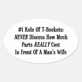 La regla #1 de Tbuckets nunca discute cuánto Pegatina Ovalada