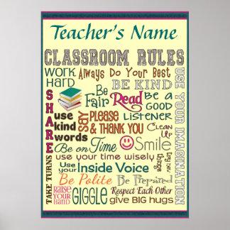 La regla del sitio de clase del profesor añade el  póster