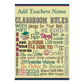 La regla del sitio de clase del profesor añade nom póster