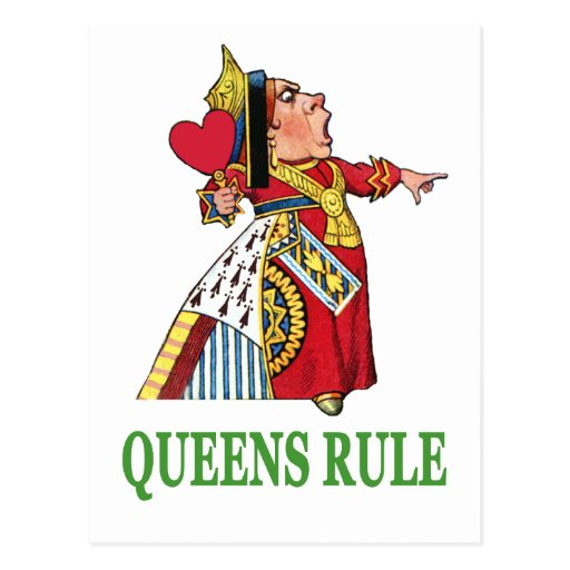 "¡La reina de corazones declara, ""regla del Queens! Tarjetas Postales"