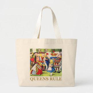 """¡La reina de corazones dice, """"regla del Queens! """" Bolsa Tela Grande"""