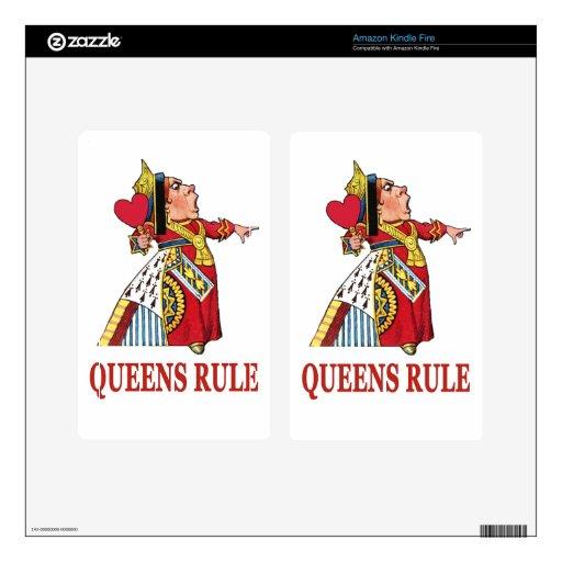 """La reina de corazones dice """"regla del Queens """" Pegatina Skin Para Kindle Fire"""
