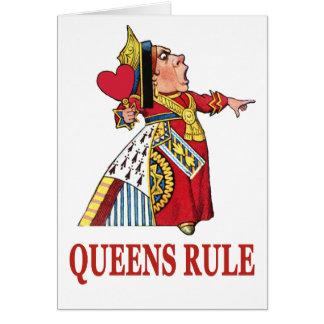 """La reina de corazones dice """"regla del Queens """" Tarjetón"""