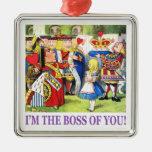 """¡La reina de corazones dice, """"soy Boss de usted! """" Adorno Cuadrado Plateado"""