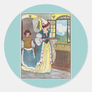La reina de corazones, ella hizo algunas tartas pegatina redonda