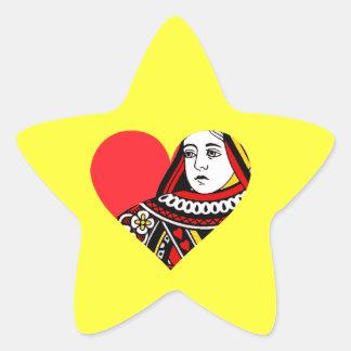 La reina de corazones pegatina en forma de estrella