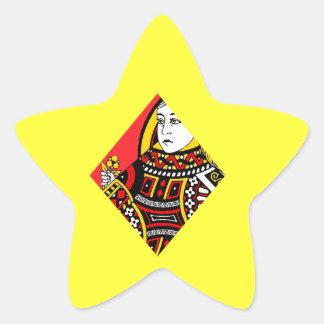 La reina de diamantes pegatina en forma de estrella