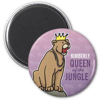 La reina de la leona de la selva, añade el nombre imán redondo 5 cm