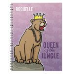 La reina de la leona de la selva, añade el nombre  libreta espiral