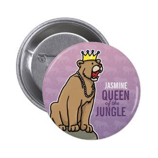 La reina de la leona de la selva, añade el nombre pin redondo de 2 pulgadas