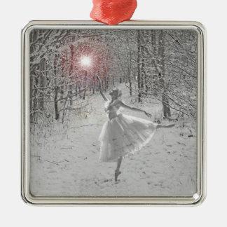 La reina de la nieve adorno navideño cuadrado de metal