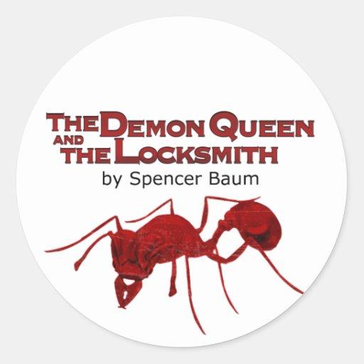 La reina del demonio y el cerrajero pegatinas redondas