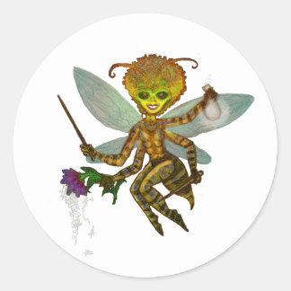 la reina manosea la abeja pegatina redonda