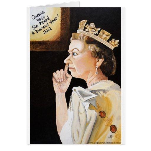 """La reina """"nariz"""" ella escogió un año del diamante tarjetas"""